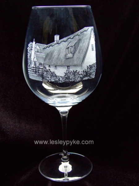cottage on wine glass
