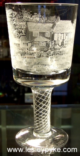 house engraved on glass