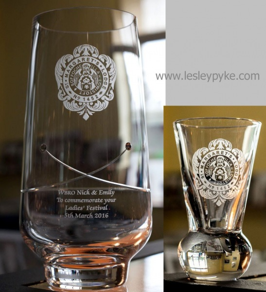 Mason, engraved glass presentations