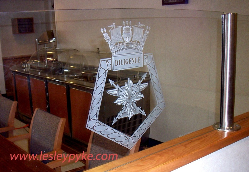 Military crest / badge on ships dining ballistrade