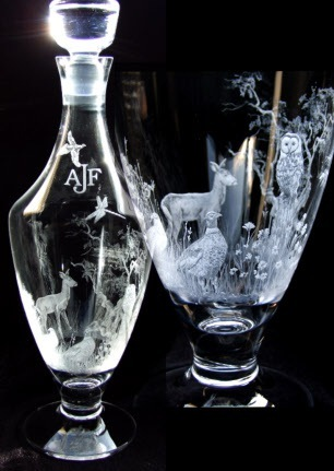 Woodland engraved decanter