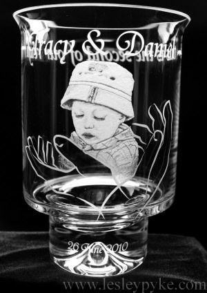 Christening Candle holder (Hurricane lamp)