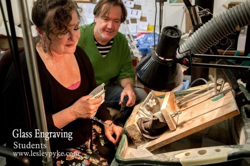Glass Engraving Lessons to a couple of musicians