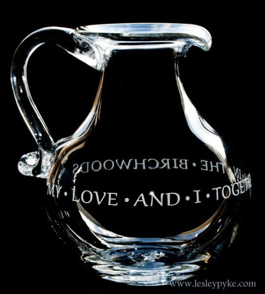 Quotation around hand blown jug