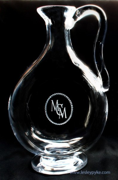 monogram on hand blown decanter