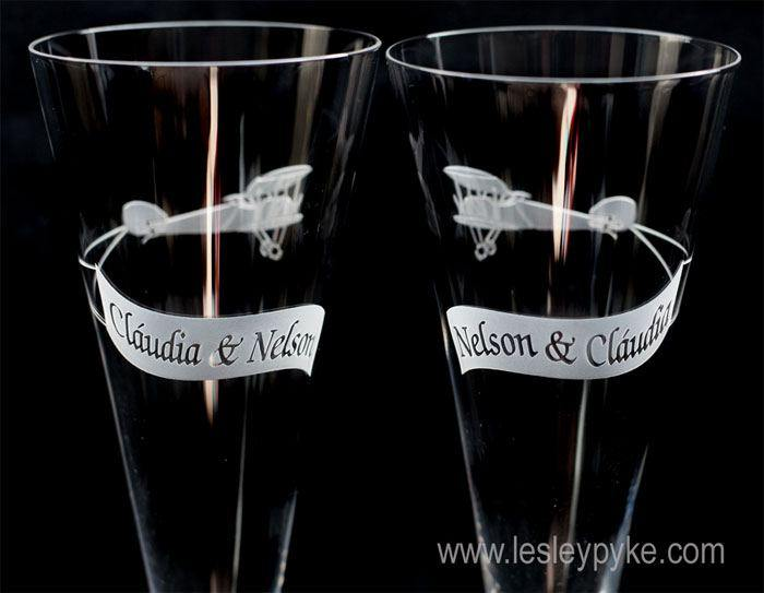 wedding plane flutes