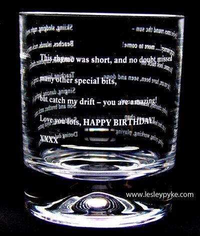 Engraved words on whisky
