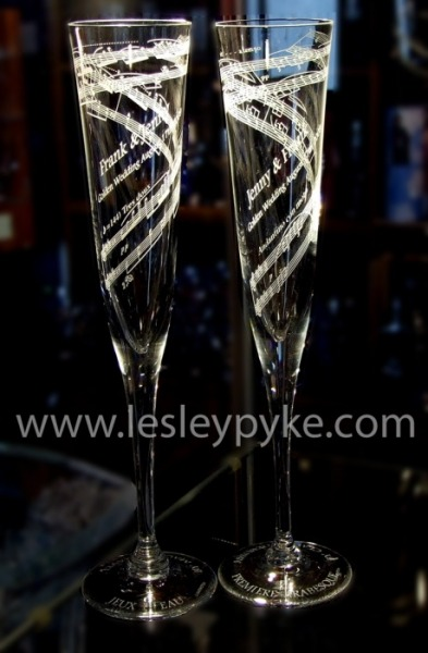 Music score on Champagne Flutes