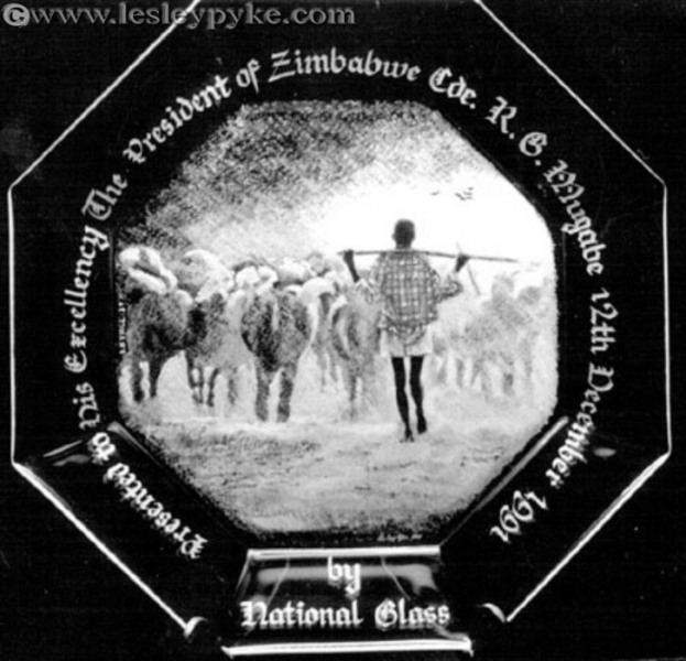 Herdsman presentation plate to Mugabe