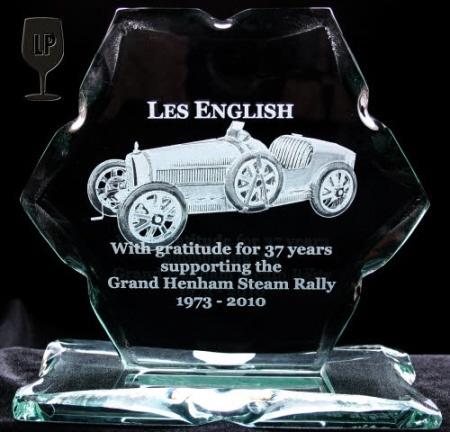 Bugatti engraved glass