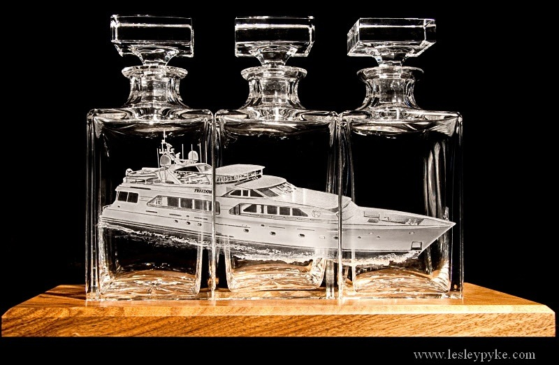 "Super yacht triptyque decanters ""Freedom"""