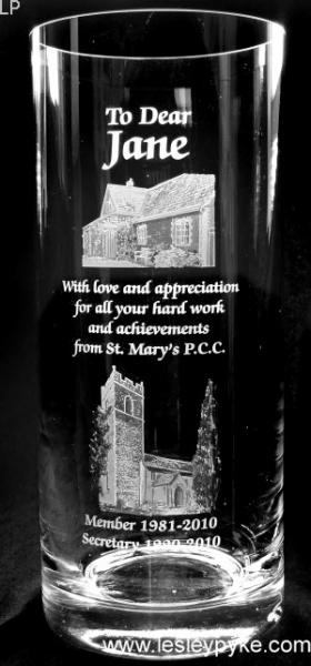 Church on glass vase