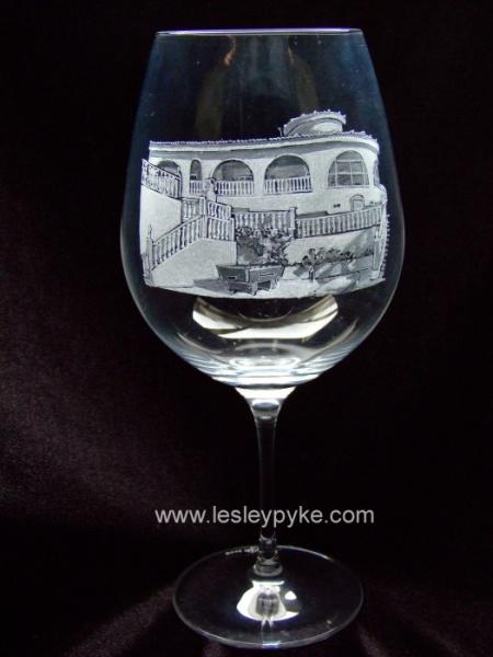 Villa on wine glass