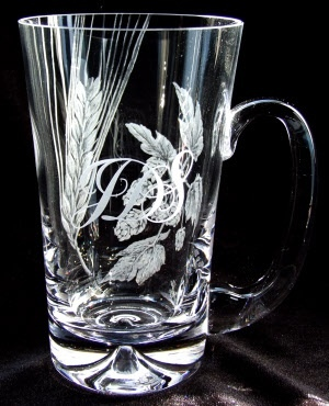 Hops and Barley engraved tankard