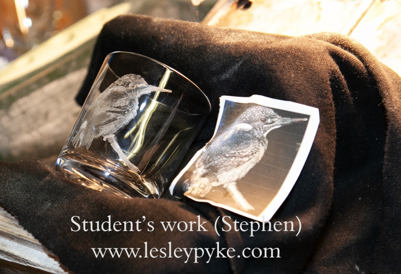 Glass Engraving Student - Stephen