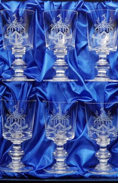 coats of arms on glasses