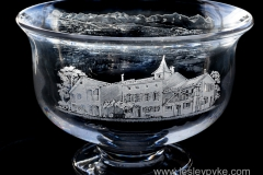 Engraved house on bowl