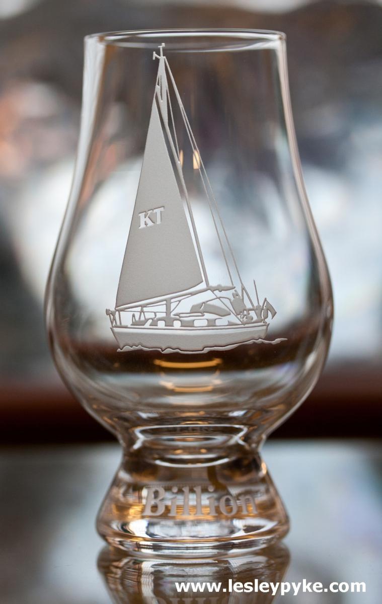 Yacht on whisky glass