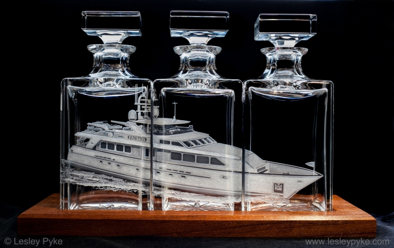 "Super Yacht Triptique decanters, ""Patriot"""