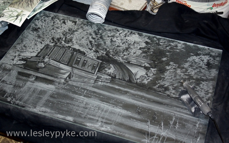 Canal boat scene on glass panel