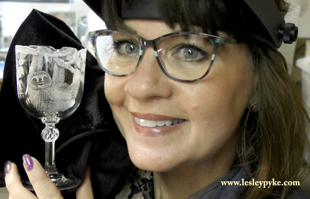 Lesley Pyke Glass Engraver engraved sloth